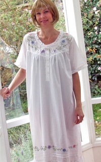Floral Embroidered Nightgown