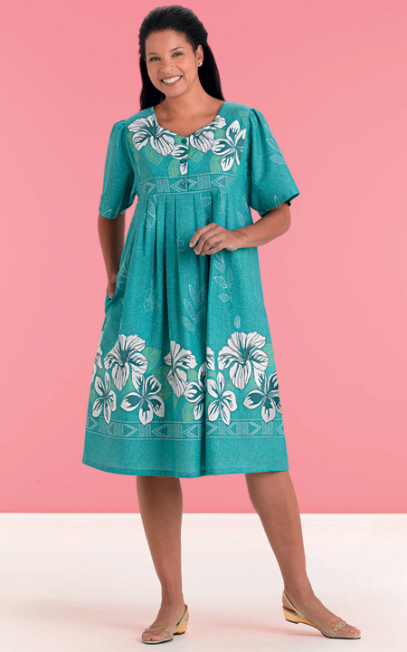 health pride jade border print patio dress