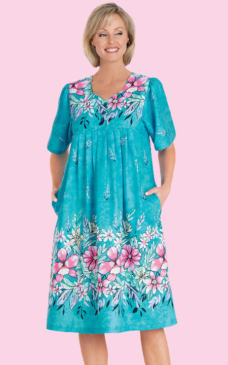 health pride aqua border print patio dress