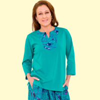 Yoke Print Tunic Top