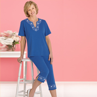 Blue Embroidered Capri Set