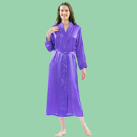Trapunto Trim Satin Robe