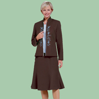 Embroidered 4 Piece Brown Wardrober