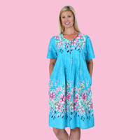 Aqua Border Print Patio Dress