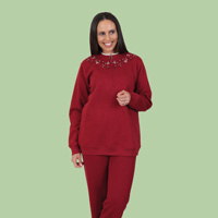 Embroidered Zip Fleece Top