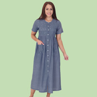 Chambray Block Embroidered Dress