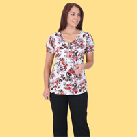 Short Sleeve Floral Top With Zip
