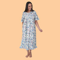 Print Nightgown with Satin Trim