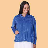 Smocked Velour Bed Jacket