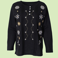Snowflake Embroidered Pintuck Top