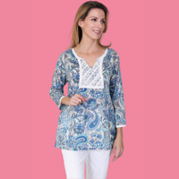 Cotton Paisley Tunic with Lace