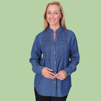 Pintuck Denim Shirt